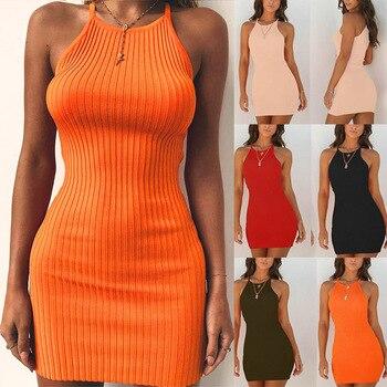 Mode femmes hors épaule licou cou moulante robe courte pour l'été GM