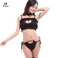 แมวเจาะKawaiiผู้หญิงUnderwearsสีขาวสีดำน่ารักการ์ตูนน่ารักชุดชั้นในโลลิต้าแม่บ้านชุดสั้นๆชุดชั้น...
