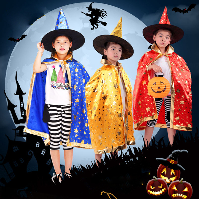 100 cm-150 cm Trẻ Em Mặc Thuật Sĩ Quần Áo Phù Thủy Áo & Hat 2 cái Bộ 5 Sao Nhà Ảo Thuật Choàng phù hợp cho Halloween Bên Kỳ Nghỉ