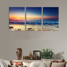 Canvas Art Prints Sunset Sea Beach Poster Wall Nature Picture for Room Decor Large Blue Ocean Home Decoration