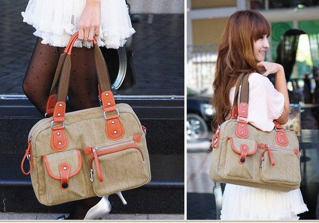 Promotion Time ! Charming  Style Ladies Canvas & PU leather  Handbag Shoulder Bags Hobos