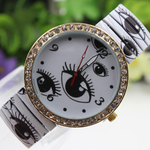 Fashion Casual Women's Quartz Wristwatches Stretch Watches Eye Pattern Women's Bracelet Watches Dress Watch Crystal Dial Gifts