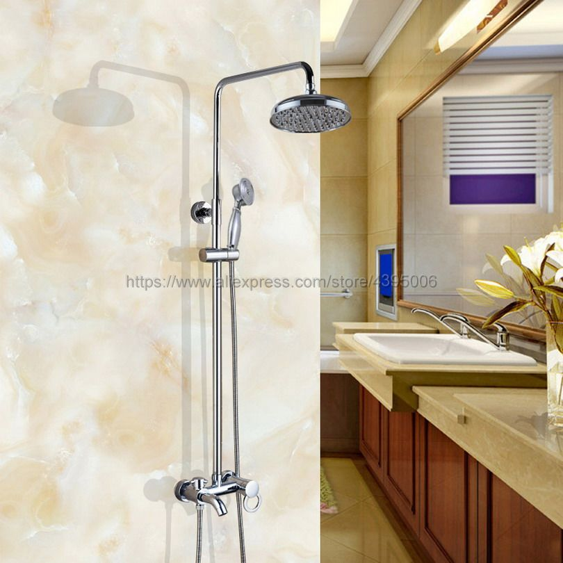 Bathroom Shower Faucet Bath Faucet Mixer Tap With Hand Shower Head Set Wall Mounted Bcy335