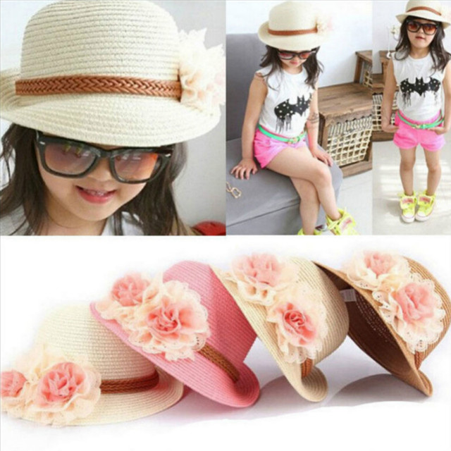 Chic Summer Kids Floral Straw Hats Fedora Hat Children Visor Beach Sun Baby  Girls Sunhat Wide 1701e01a079