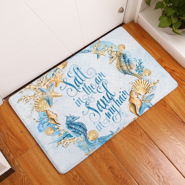 MDCT Ocean Stars Shell Sea Horse Anchor Pattern Welcome Mats Area Rug  Anti Skid Outdoor