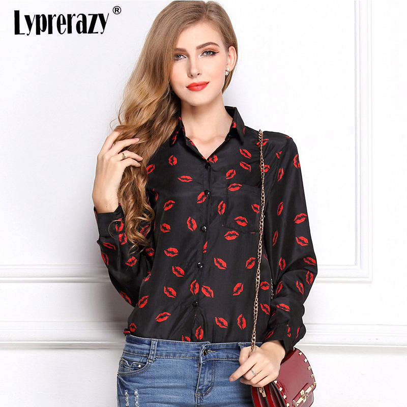 Lyprerazy Women Casual Chiffon Kisses Red Lip Printed   Blouses     Shirts   Women's Tops Long Sleeve with Pockets Tops