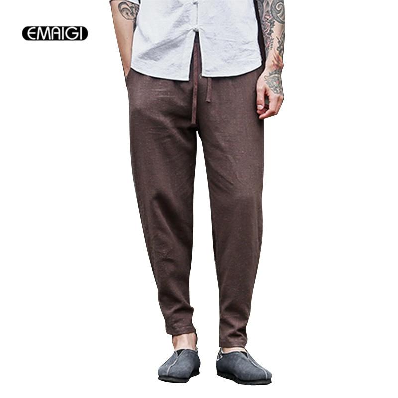 3 Colors Big Size Men Cotton Linen Casual Pant Chinese Retro Fashion Loose Harem Trousers Jogger Sweatpants