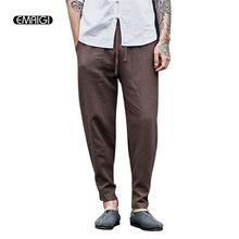 3 Colors Big Size Men Cotton Linen Casual Pant Chinese Retro Fashion Loose Harem Trousers Jogger Sweatpants