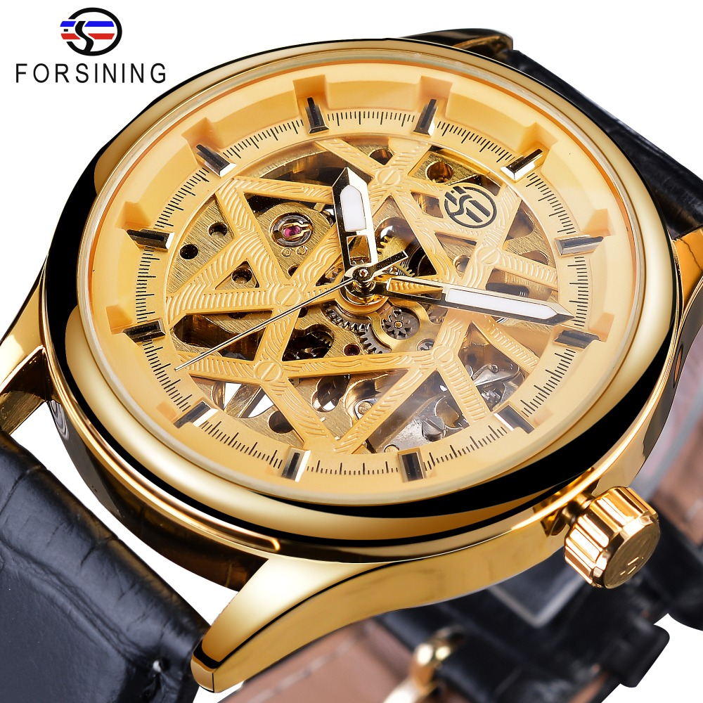 Forsining Golden Gear Movement Retro Royal Classic Fashion Mens Mechanical Wrist Watches Top Brand Luxury Male Clock Relogio