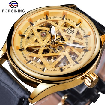 Forsining Golden Gear Movement Retro Royal Classic Fashion Mens Mechanical Wrist Watches Top Brand Luxury Male Clock Relogio forsining 3d skeleton royal retro design blue steel mesh band golden movement men mechanical male wrist watches top brand luxury