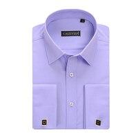 Fashion New Men's Dress Shirts French Cuff Shirts With Cufflinks Long Sleeve Wedding Shirts Camisa Masculina Brand Clothing
