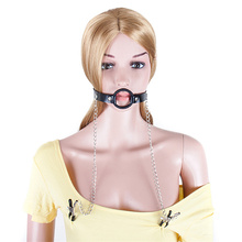 Pu Leather Restraint Mouth Gag Sex Toys Fetish Leather Neck Collar With Sm Nipple Clamps Love Bondage Bdsm Erotic Toys For Women