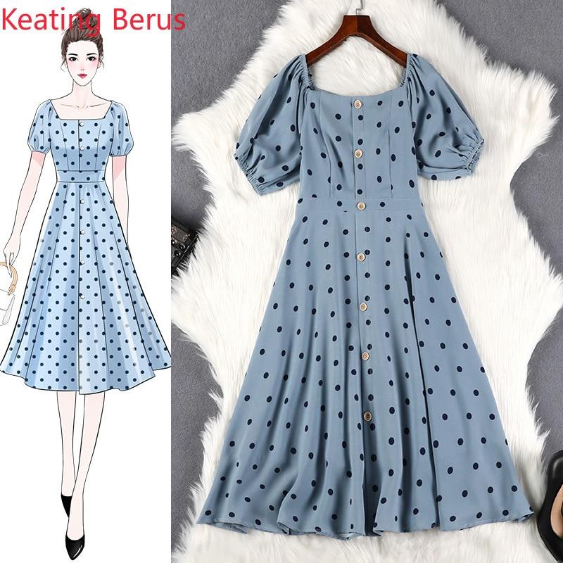 2019 femmes robe d'été lâche grande taille 5XL bleu âge bouton bouton lanterne manches femmes longue robe élégante femmes vêtements