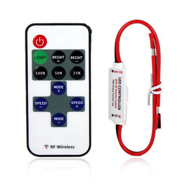 50pcs Mini RF Wireless <font><b>Led</b></font> <font><b>Remote</b></font> Controller <font><b>Led</b></font> <font><b>Dimmer</b></font> Controller For Single Color Light <font><b>Strip</b></font> SMD5050 SMD3528 Wire image