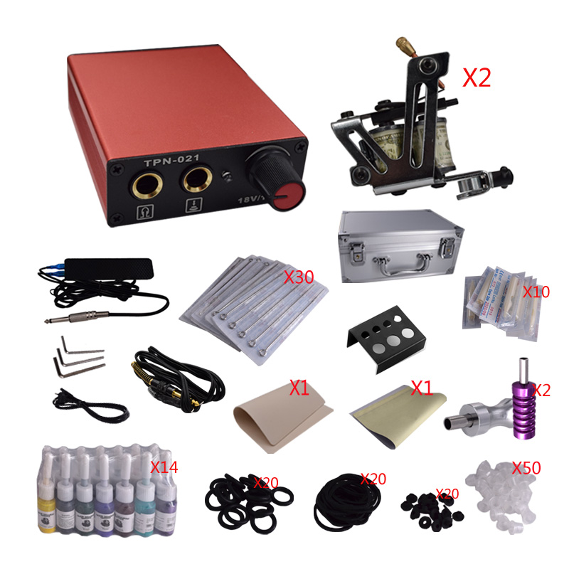 Wholesale Complete Tattoo Kit Mini Gun Rotary Machine Equipment sets +Ink +Power Supply +Needle + Case for Beginners Body Art professional tattoo kit 5 guns complete machine equipment sets teaching cd ink for beginners body art beauty tools tk 2509 m