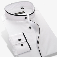 Men's Mandarin Collar Shirt 100% Cotton Long Sleeve Slim Solid Color Mens Business Casual Dress Shirts
