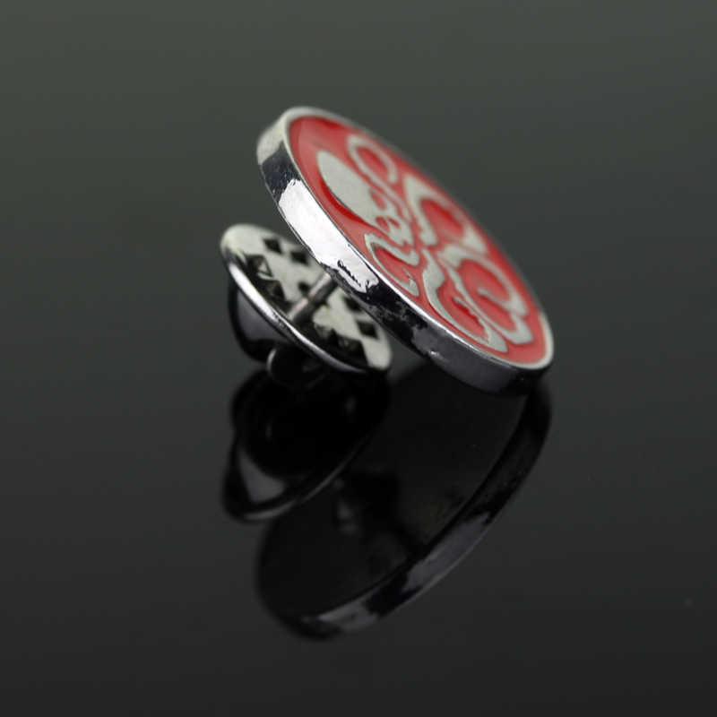 Sederhana Bermain Peran Tengkorak Bros Tengkorak Merah Berkaki Enam Logam Enamel Pin Bulat Bros untuk Wanita Bermain Peran Fashion perhiasan Hadiah