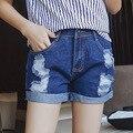 Estilo denim jeans shorts verano de las mujeres más el tamaño 5xl 2016 bermuda feminina A0536 Flanger agujero femenino