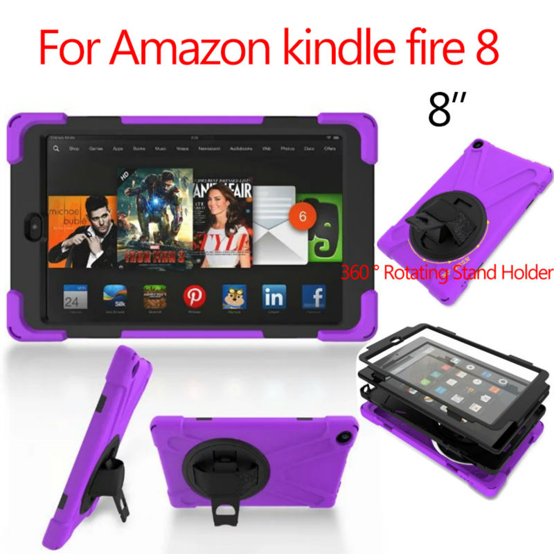 For Amazon kindle fire 8 Tablet Case 8'' Heavy Duty Fundas Shockproof Armor Hydrid Case PC Silicon Protective Stand Hand Holder armor a80 компании silicon power в украине