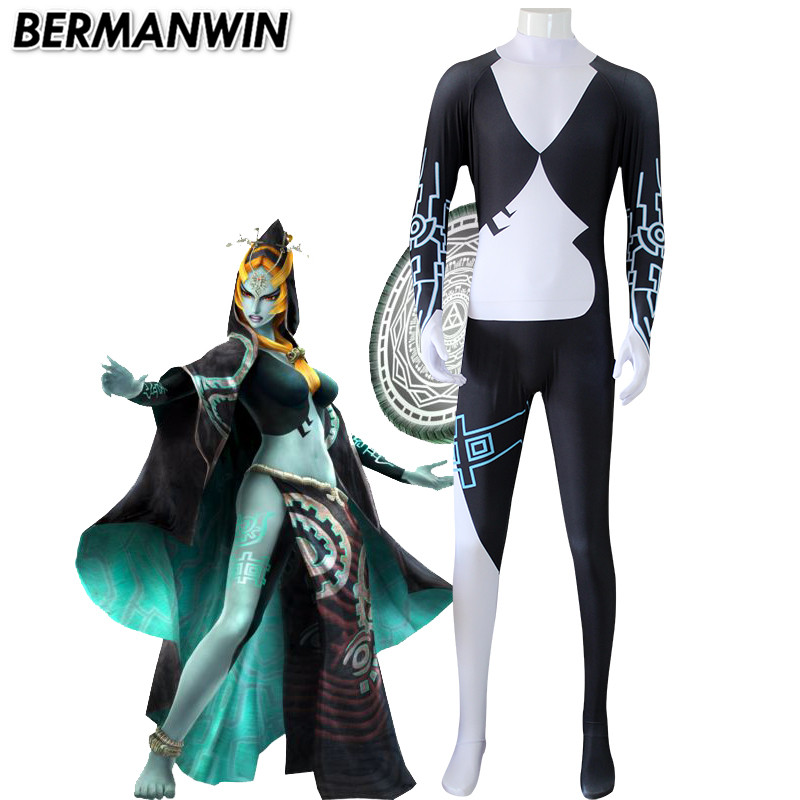 BERMANWIN High Quality Twilight Princess Midna costume black white spandex catsuit  Adult Halloween Cosplay Costume