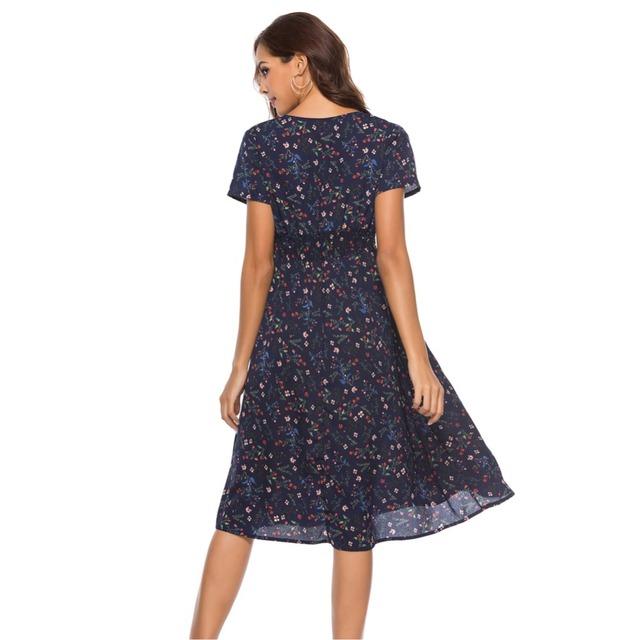 Elegant V-neck High Waist Floral Print Long Loose Causal Wrap Dress