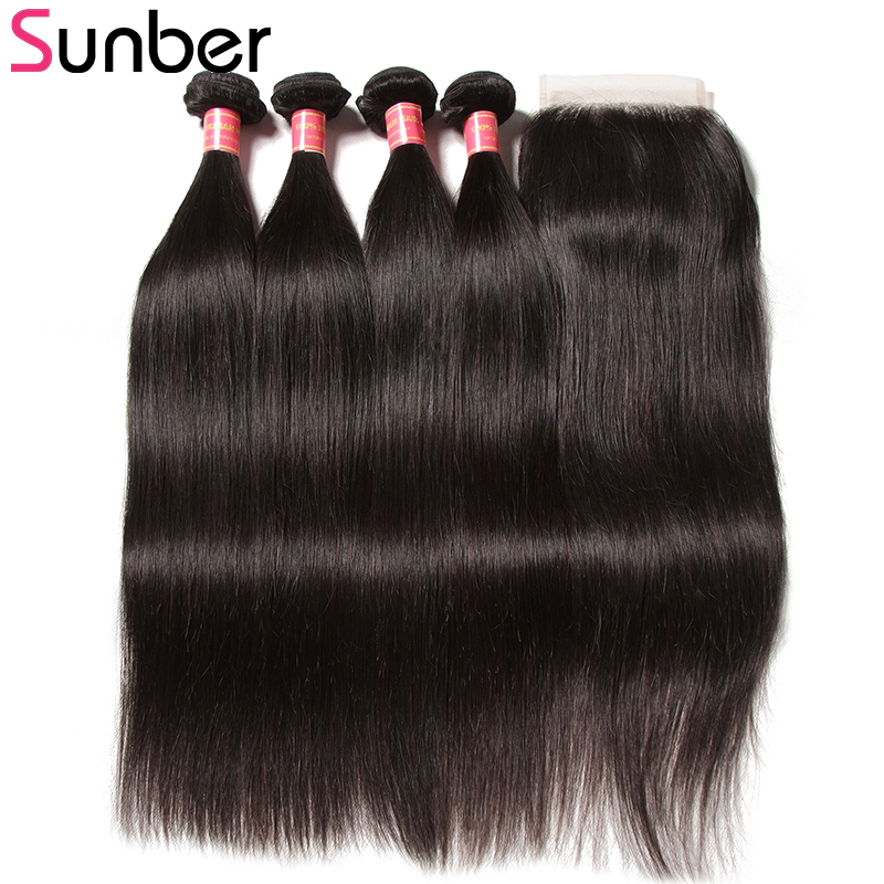 Sunber Peruvian Straight Hair 4 Bundles With Closure Remy Human Hair Weave Bundles With 4X4inch Lace