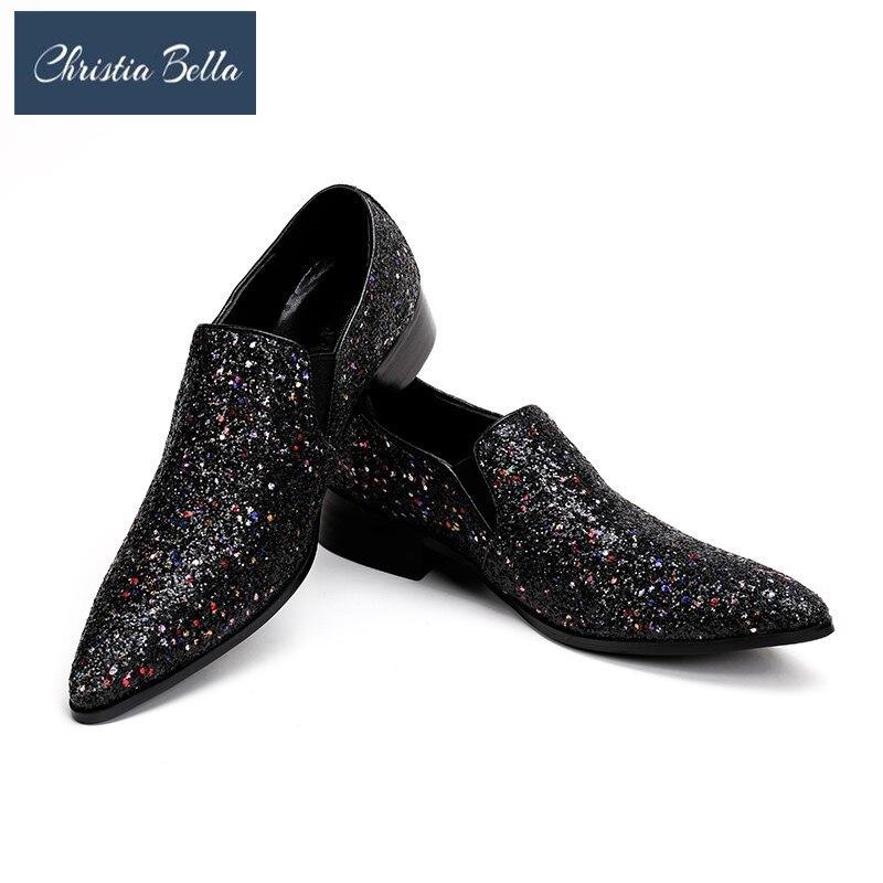Hombres Negro Pisos Zapatos Bella De Hombre Deslizamiento Lujo En Bling Loafer Casual Point Moda Glitters Toe Christia Elegante 1Wpq55