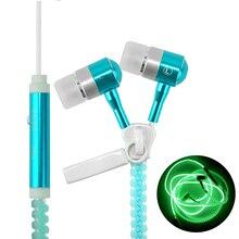 Metal Zipper Luminous Earphones Glow In The Dark Headphones Glowing Stereo Bass Sport Running Headset Night Lighting Handsfree