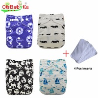 OhBabyKa Waterproof PUL Baby Suede Cloth Diaper Nappy Covers Reusable Baby Diapers Pack 4 Pocket Diapers