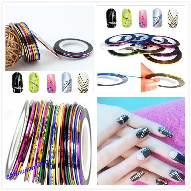 Hot Sale Style 30pcslot Multicolor Nails Striping Tape Line Diy