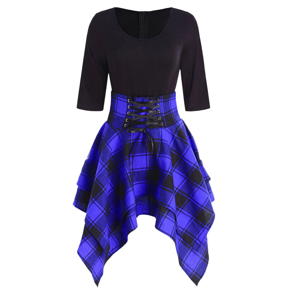 HTB1a0cUMNnaK1RjSZFBq6AW7VXa6 JAYCOSIN O-Neck Fashion Casual  Lace Up Tartan Plaid Print Asymmetrical Women  Mini Dress Paired With Necklaces  Scarves  Hats