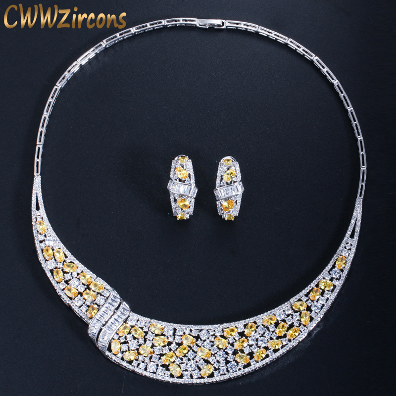 CWWZircons Luxury Yellow Cubic Zirconia Stone Bridal Party Choker Necklace Earrings Sets for Brides Wedding Jewelry