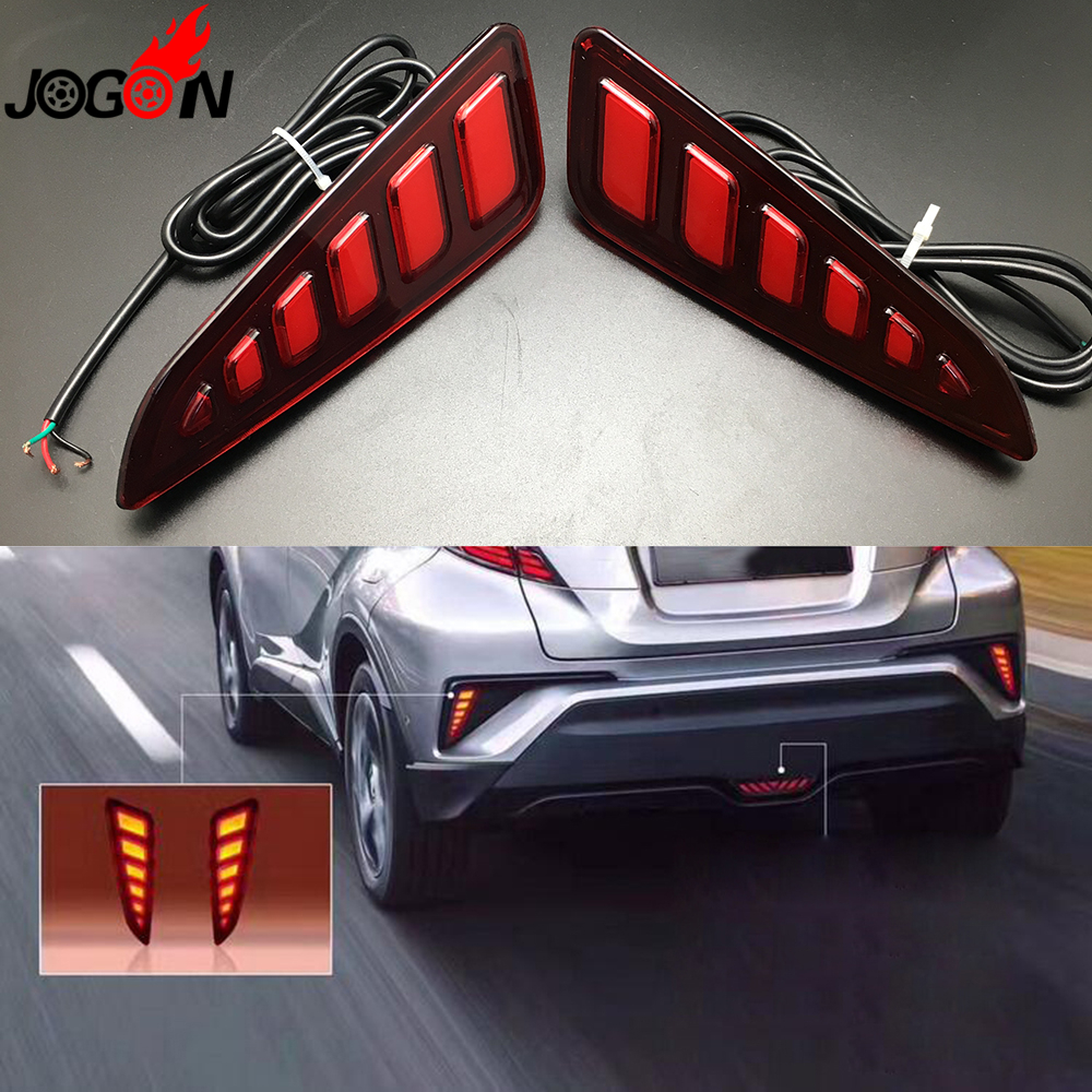 For Toyota C-HR CHR 2016 2017 Car Rear Fog LED Brake Light Tail Red Lamp Assembly Anti Chasing Foglights 2PCS/set