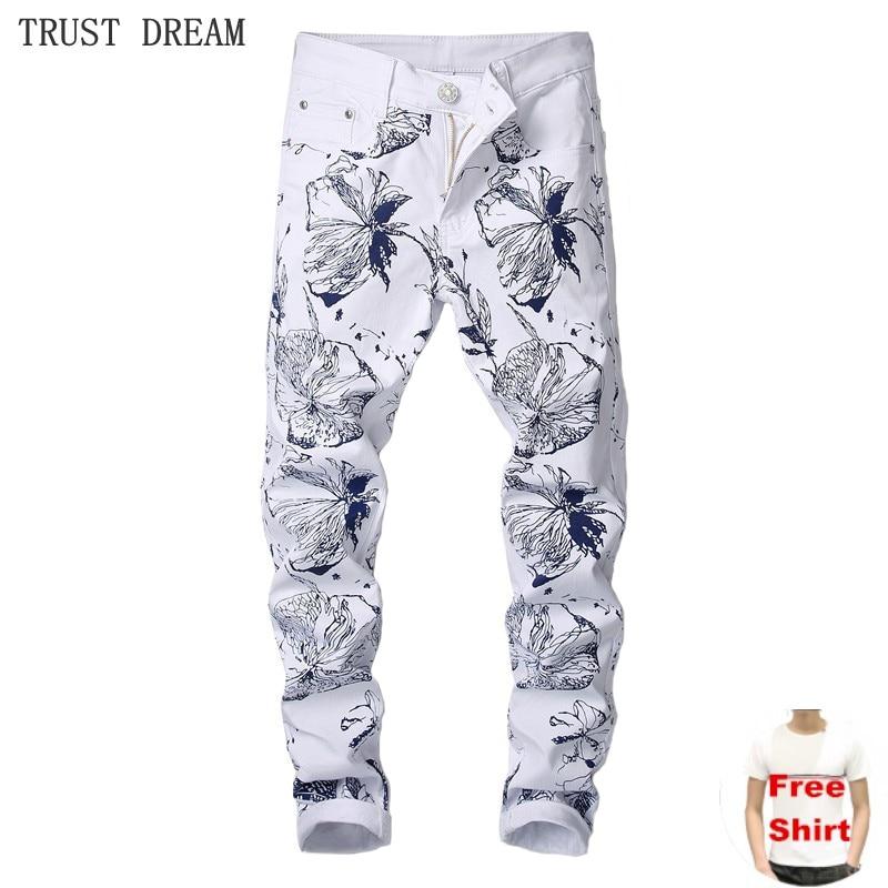 Men's Paris Style Slim White Pant Men Colorful Floral Print Men Trousers Character Fantasy Man Street Party Real Fashion Quality