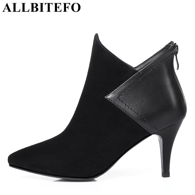 ALLBITEFO fashion sexy thin heel women boots Nubuck leather pointed toe high heels office ladies shoes ankle boots size:33-43
