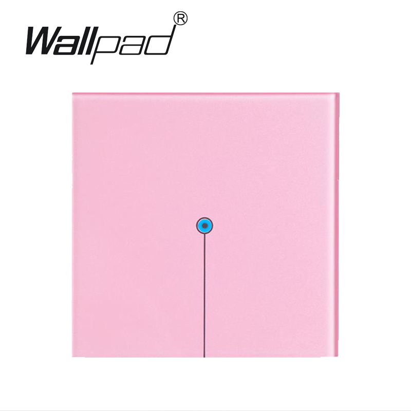 1 gang 2 way Pink Crystal Glass light switch touch 110V~220V ,Wallpad LED touch light switch, Free Customize LOGO,Free Shipping