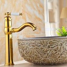 Banhado a ouro água da torneira pia Do Banheiro misturador torneira da bacia Arte retro estilo Europeu torneira lavatório quente e fria Atacado