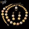 Nueva declaración de collar pendientes pulsera de las mujeres de alta calidad de italia 925 oro verdadero plateó la joyería choker tres perlas de color
