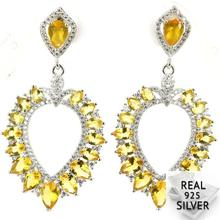 Real 8.1g 925 Solid Sterling Silver Deluxe Long Heavy Golden Citrine CZ Earrin 50x27mm