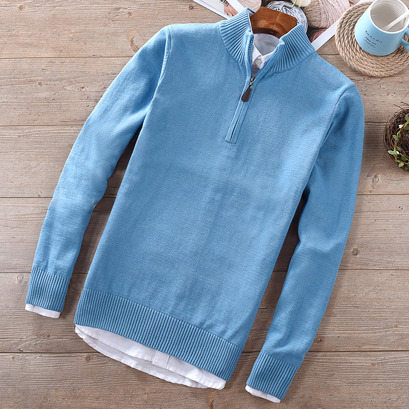 New Brand Winter And Autumn Mens Sweater Solid Fashion Stand Collar Blue Sweaters Male Slim Cotton Sweater Men Trui Maglione