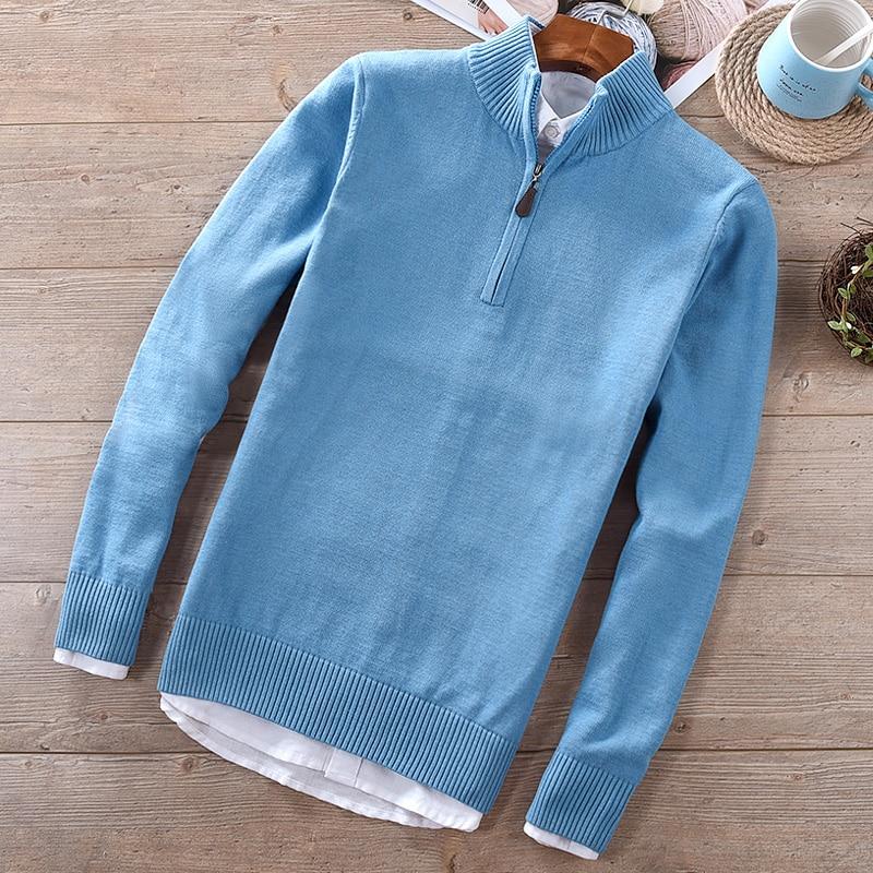 New Brand Winter And Autumn Mens Sweater Solid Fashion Stand Collar Blue Sweaters Male Slim Cotton Sweater Men Trui Maglione