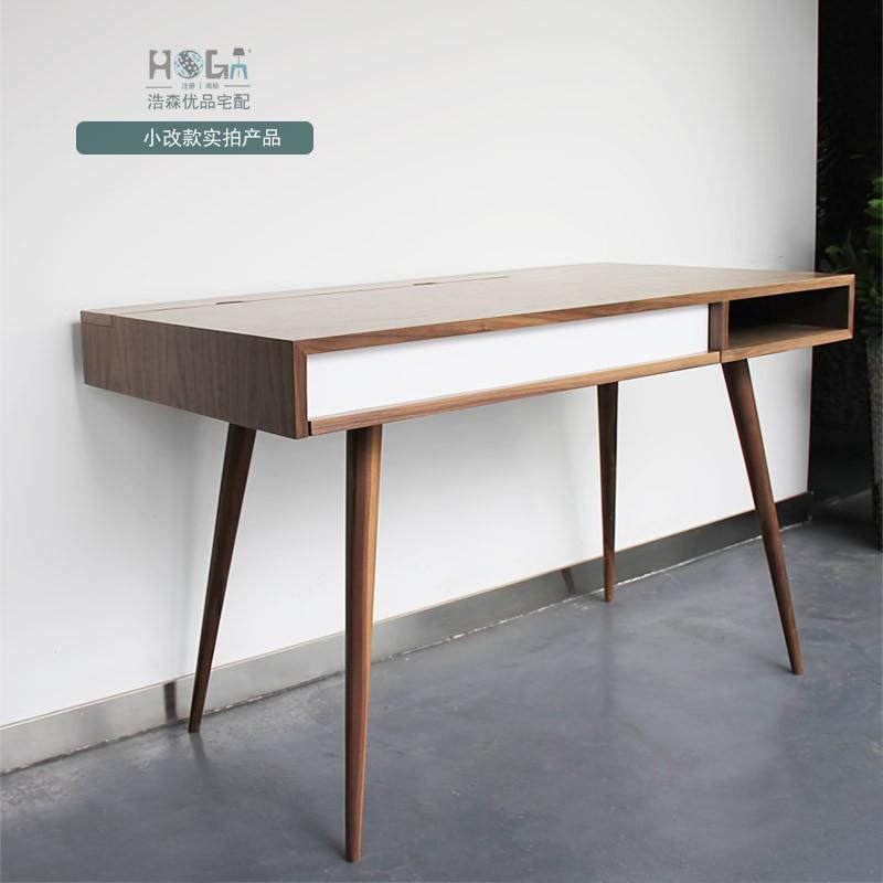 Scandinavian Modern Style Furniture Designer Desk Walnut Wood Veneer Desk  Minimalist Square Feet Of New In Computer Desks From Furniture On  Aliexpress.com ...
