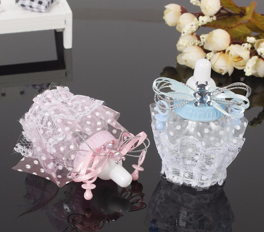 48pcs Plastic Blue/Pink Lace Feeder Feeding Bottle Candy Chocolate Box Boxes For Wedding Party Birthday Baby Shower Favors Gifts