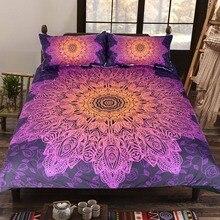 BeddingOutlet Bohemian Flower Bedding Set Gradient Purple Mandala Quilt Cover Set King Size Home Textiles Drop Ship