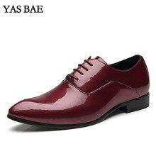 Большие размеры 45-48; классическая мужская обувь; цвет красный, черный; платье с эффектом пуш-ап; лакированная кожа; офисная элегантная обувь для мужчин; большие размеры