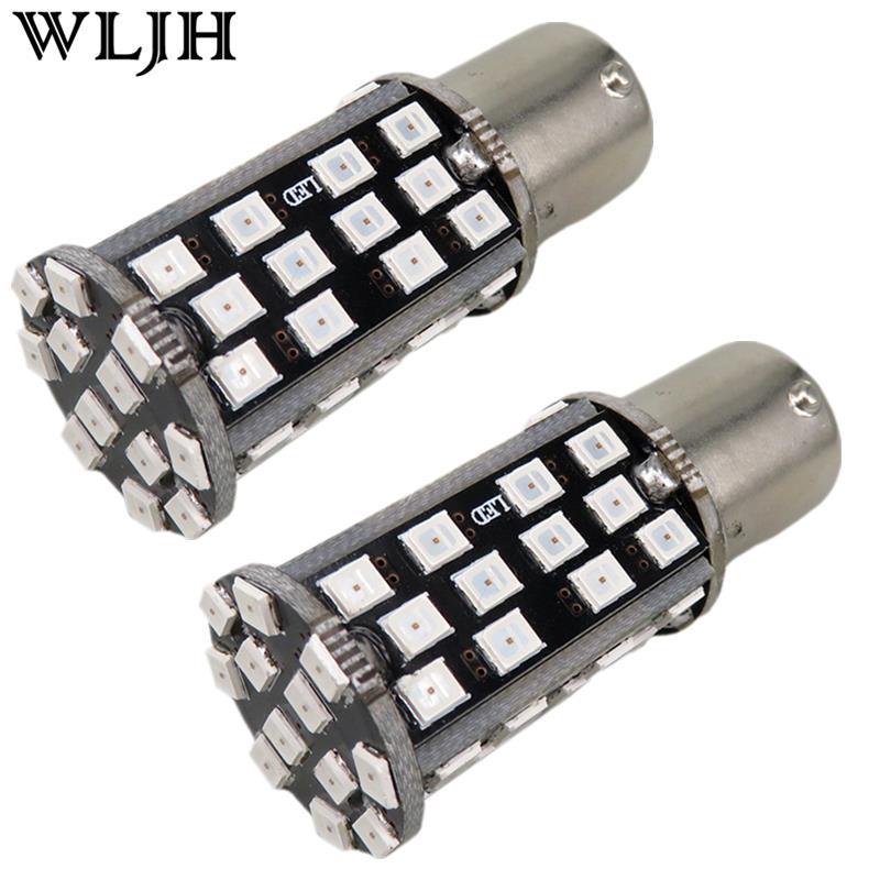 WLJH 2x DC12V High Power 60 SMD 12V 1156 BA15S P21W Canbus No Error Car LED Rear Reversing Tail Light Bulb For CITROEN C2-C5 C8 2x h7 car led headlight canbus no error 10400lm 110w high power mz led bulb p6 auto fog light headlamp conversion kit