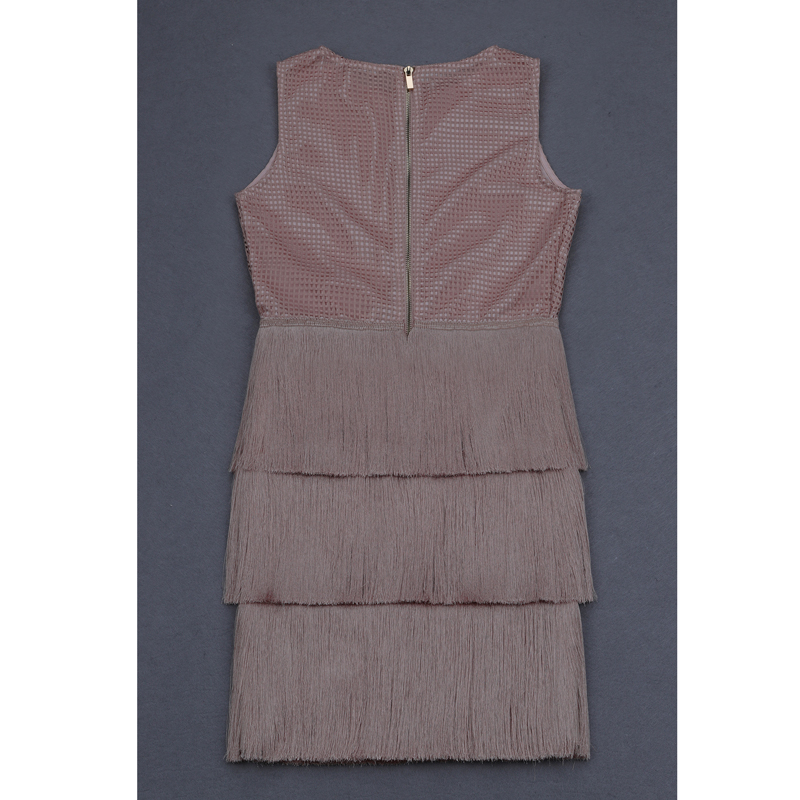 Femmes Qualité Robes Haute Or Gland Bandage 2018 Robe Erdaoben H5502 Rayonne Pour Fringe DIH9E2