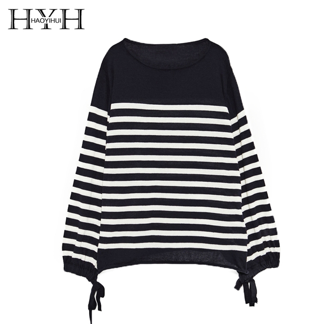 HYH HAOYIHUI Women Brief Striped Sweater Balloon Sleeve Loose ...