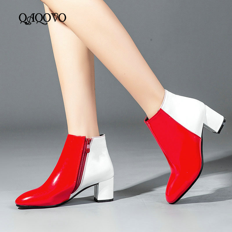 Fashion Patent Leather Ankle Boots Women Spring Autumn Square High Heel Zipper Boots Round Toe Woman Shoes Gold Red Black Silver