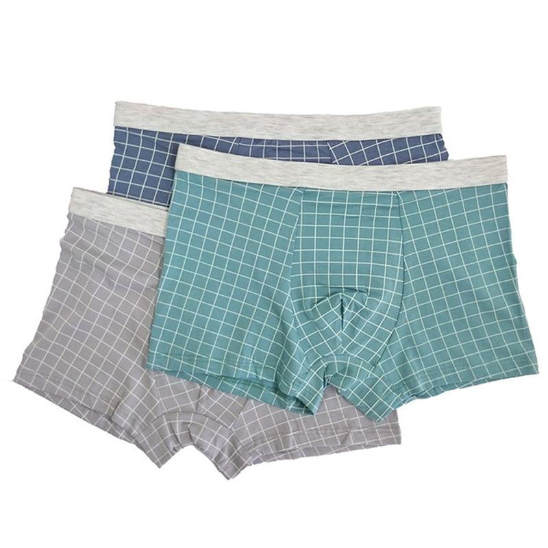 New Boxers Mens Underwear Cotton Breathable Cueca Masculina Men Boxershorts  Hombre Men Underpants Plaid Male Panties 2XL-4XL